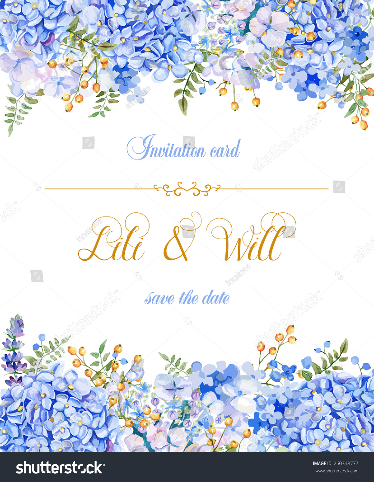 invitation card vector blue watercolor flowers stock