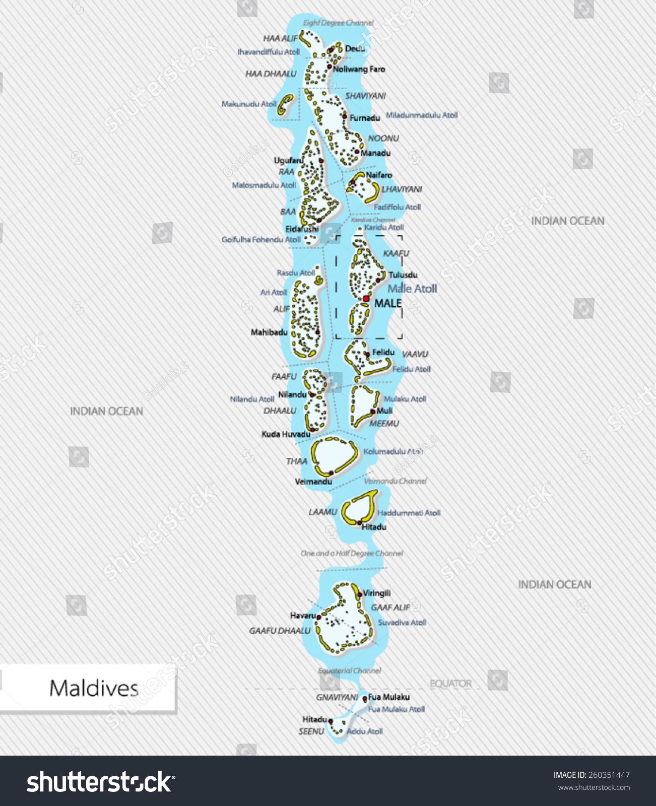 Maldiverne Kort Lagervektor Royaltyfri 260351447