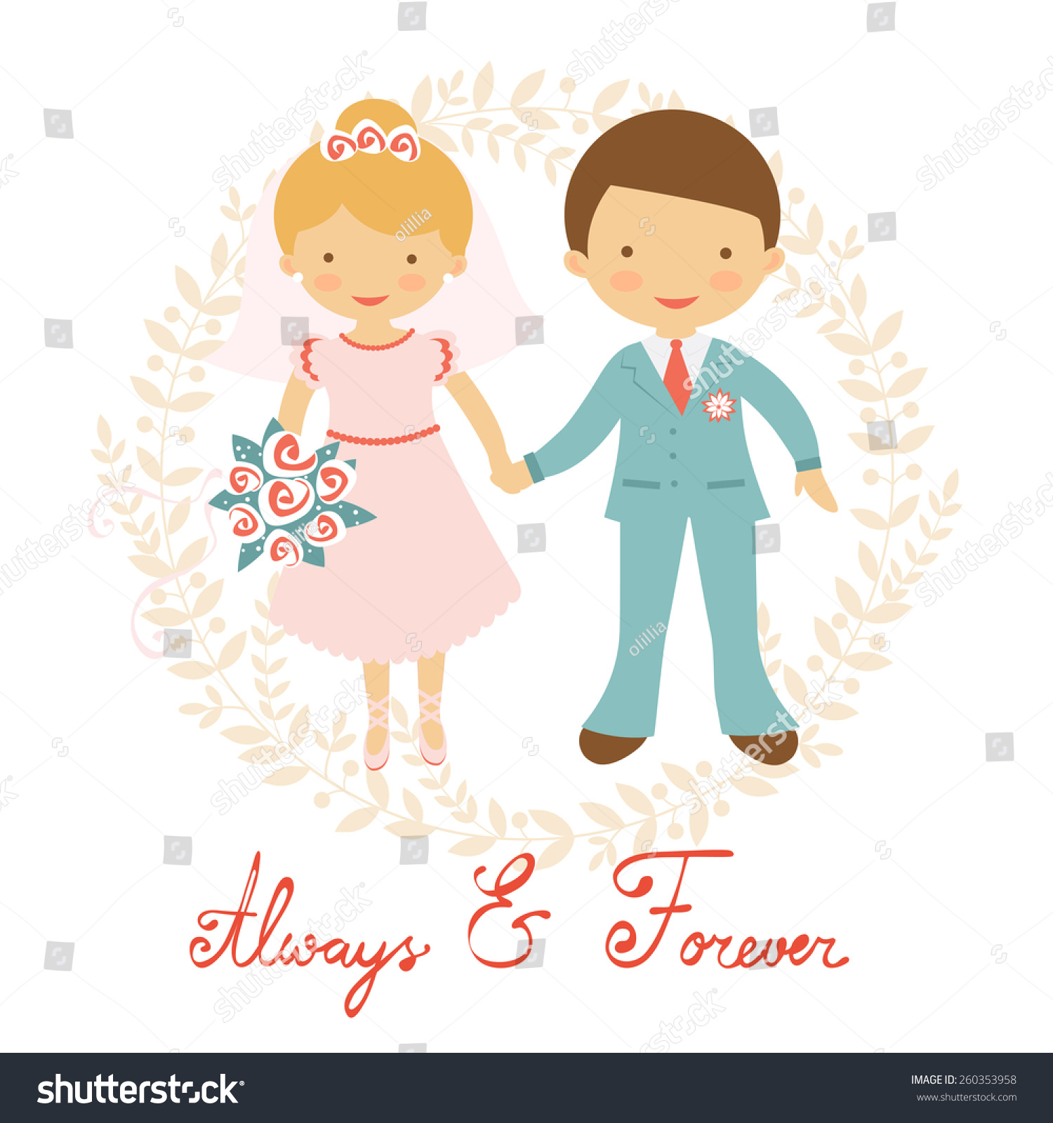 Cute Wedding Couple Pastel Colors Vector Stock Vector ...