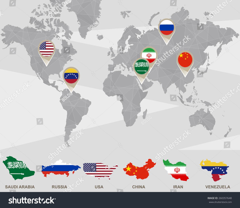 World map saudi arabia russia usa vectores en stock 260357648 world map with saudi arabia russia usa china iran venezuela pointers gumiabroncs Image collections
