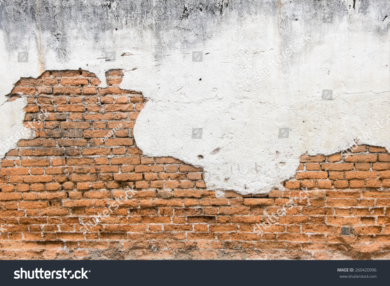 White Exposed Brick Concrete Wall Stock Photo 260420996