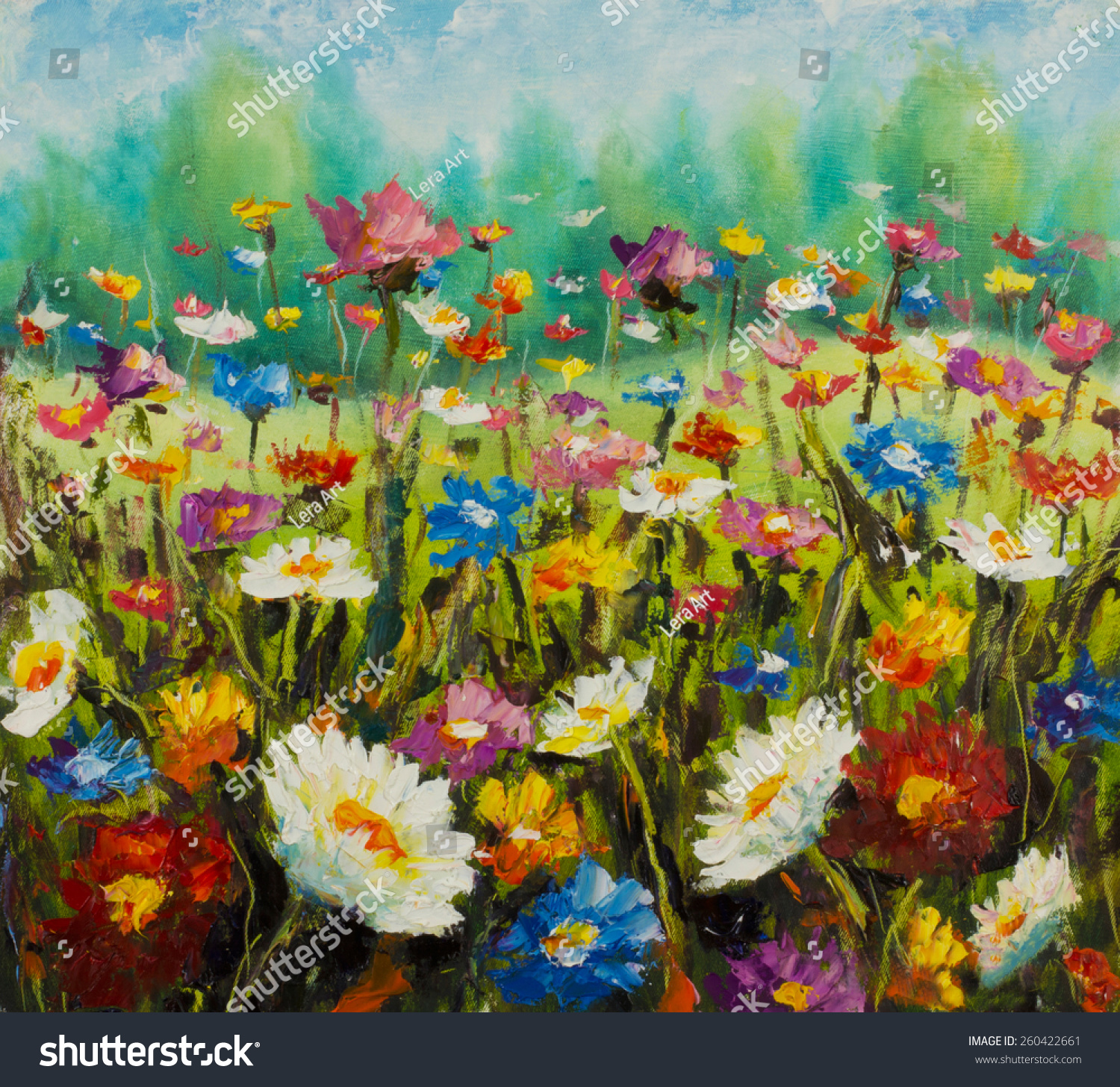 Original oil painting flowers beautiful blooming stock for How to oil paint flowers