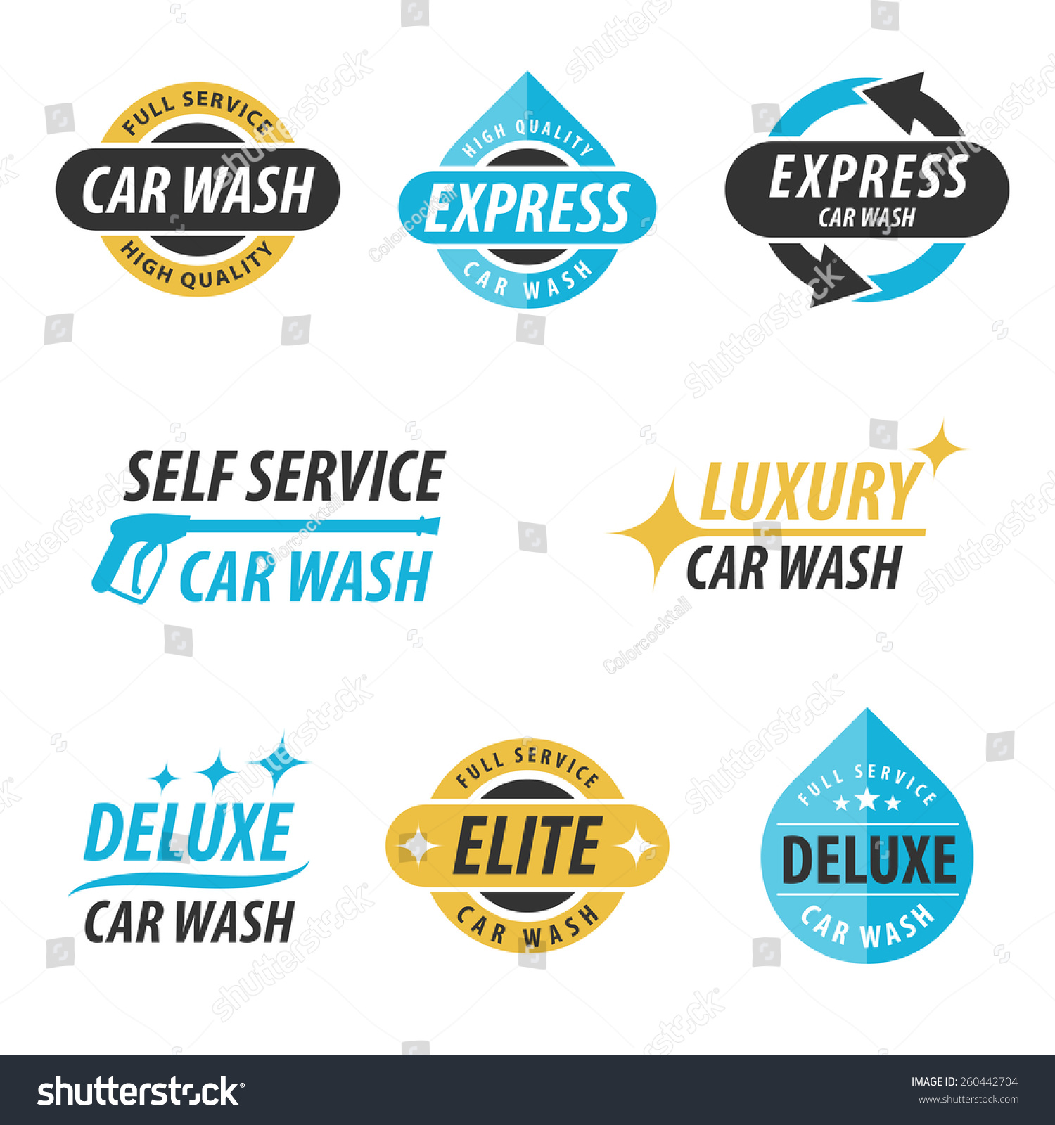 vector set car wash logotypes express stock vector 260442704 shutterstock. Black Bedroom Furniture Sets. Home Design Ideas