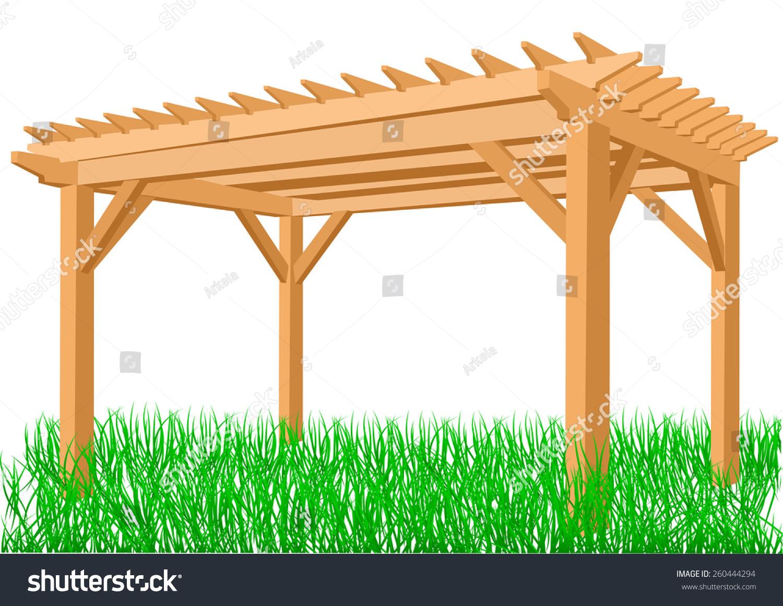 Pergola stock vector illustration 260444294 shutterstock - Toile micro perforee pour pergola ...