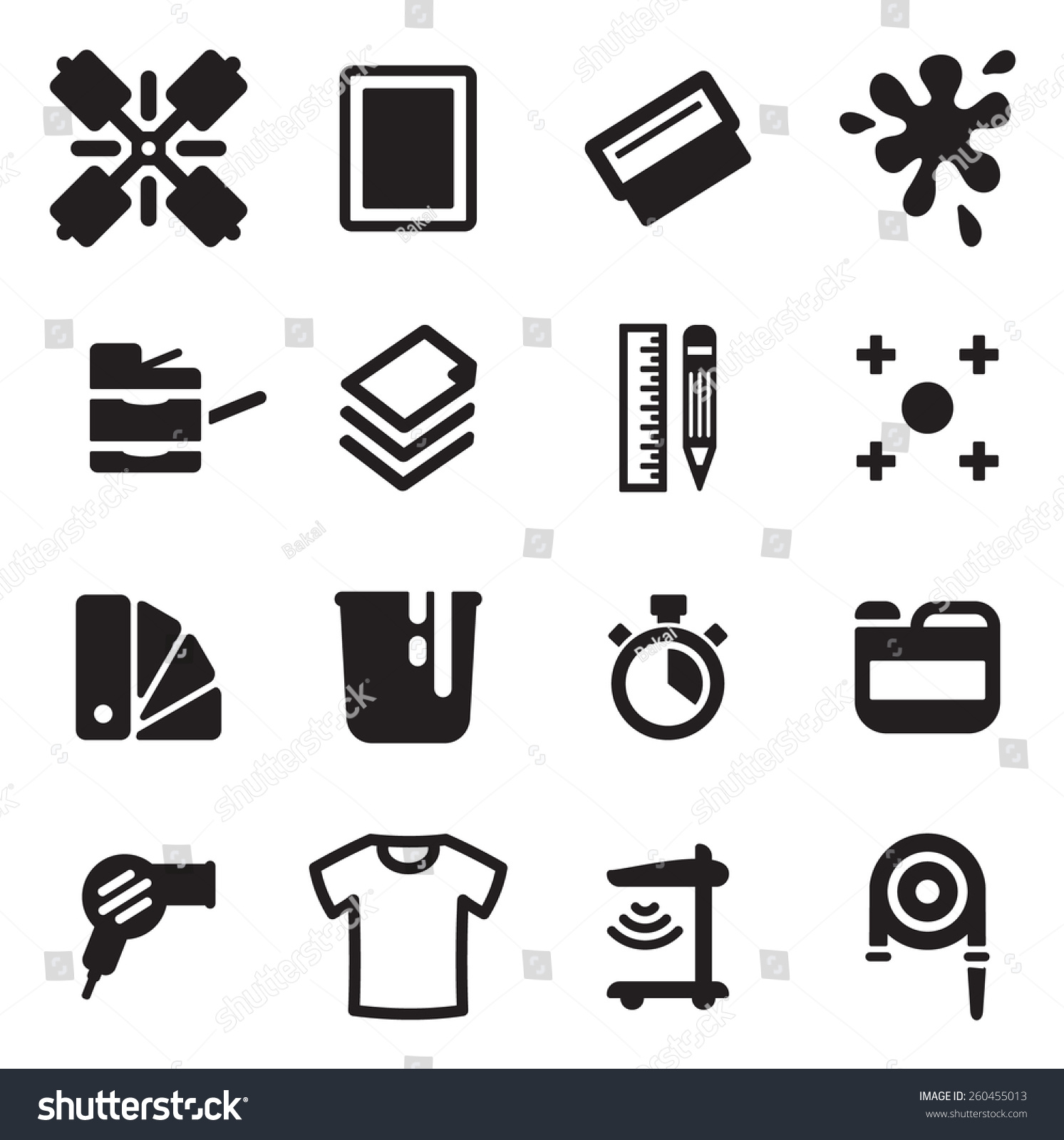 Screen Printing Icons Stock Vector 260455013 Shutterstock