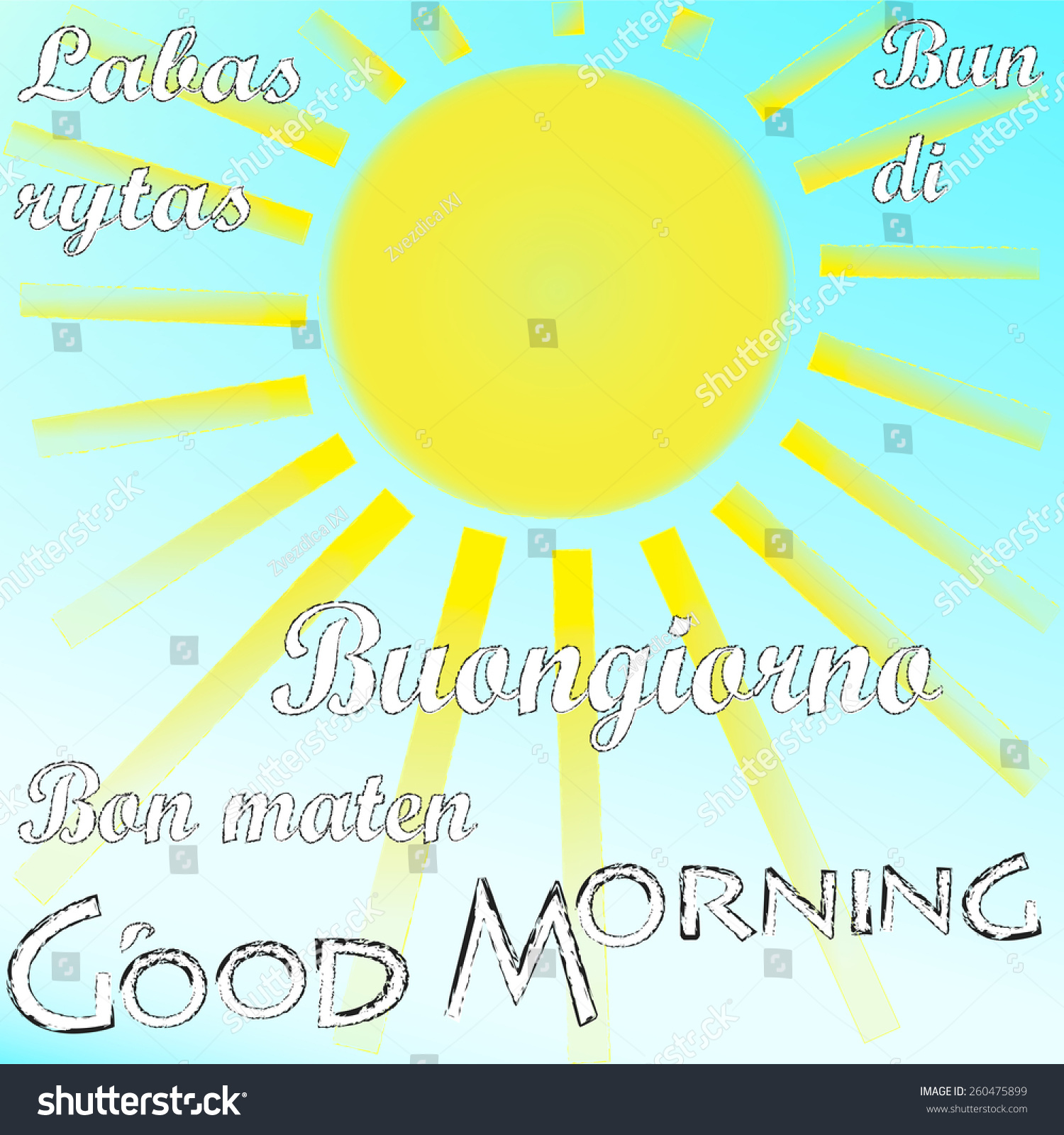 Good Morning In Many Languages : Good morning many languages stock vector