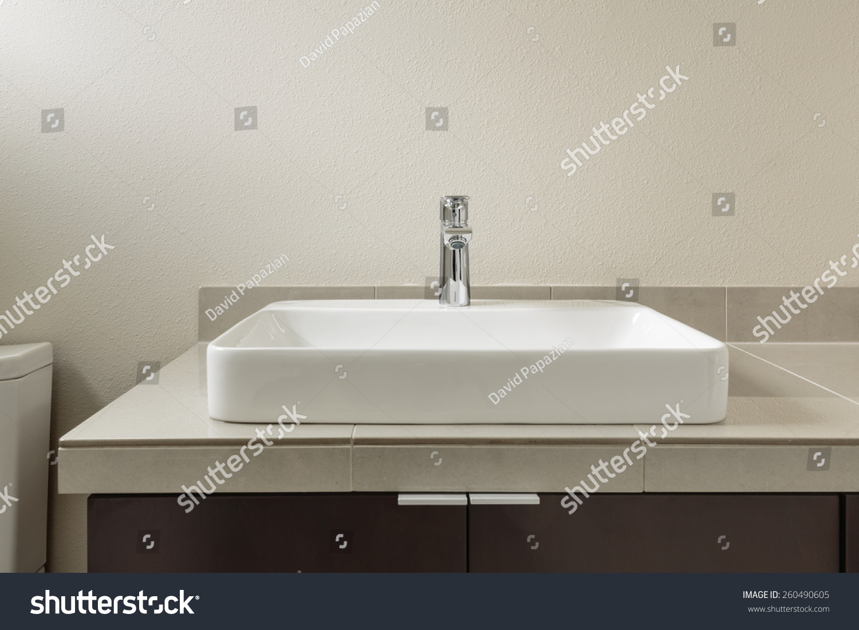 Straight On Close Modern Bathroom Sink Stock Photo (Edit Now ...