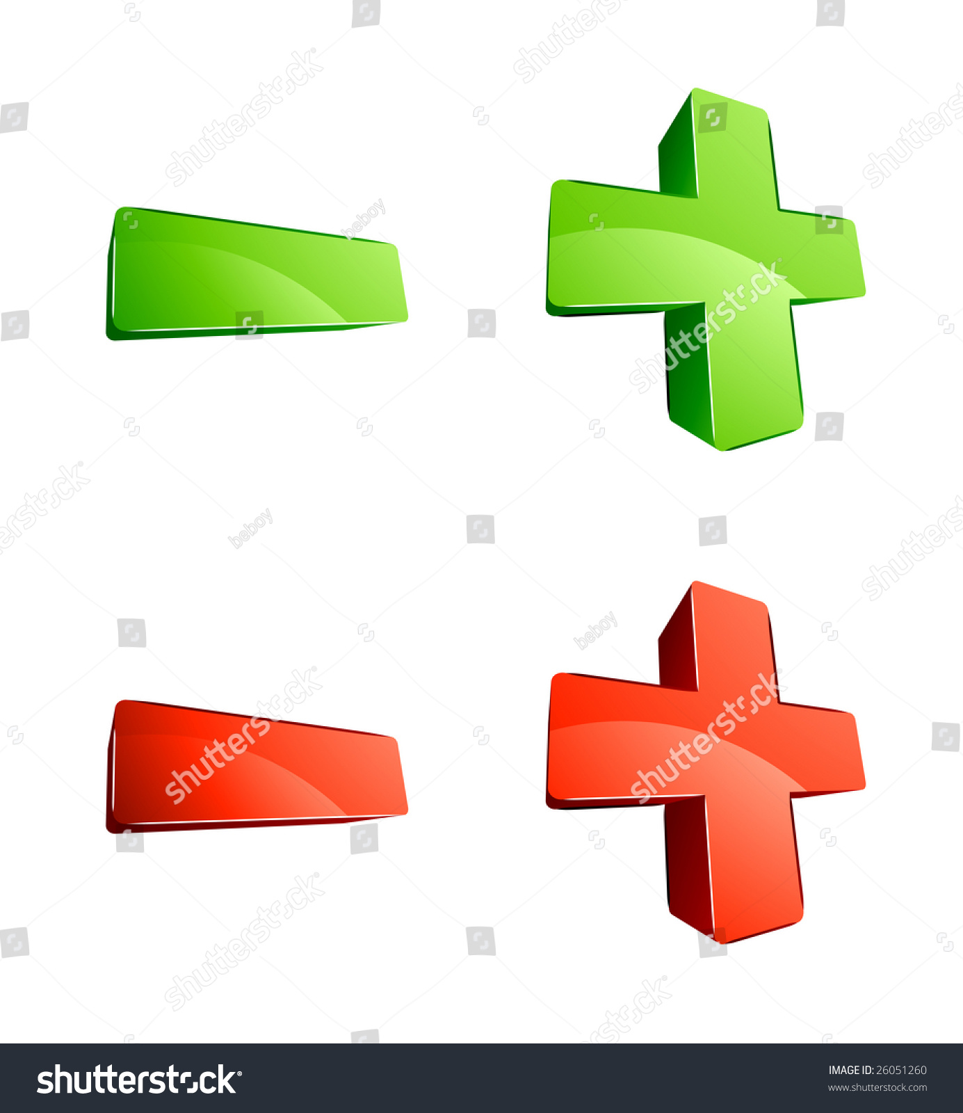 3d green and red plus and minus signs stock vector