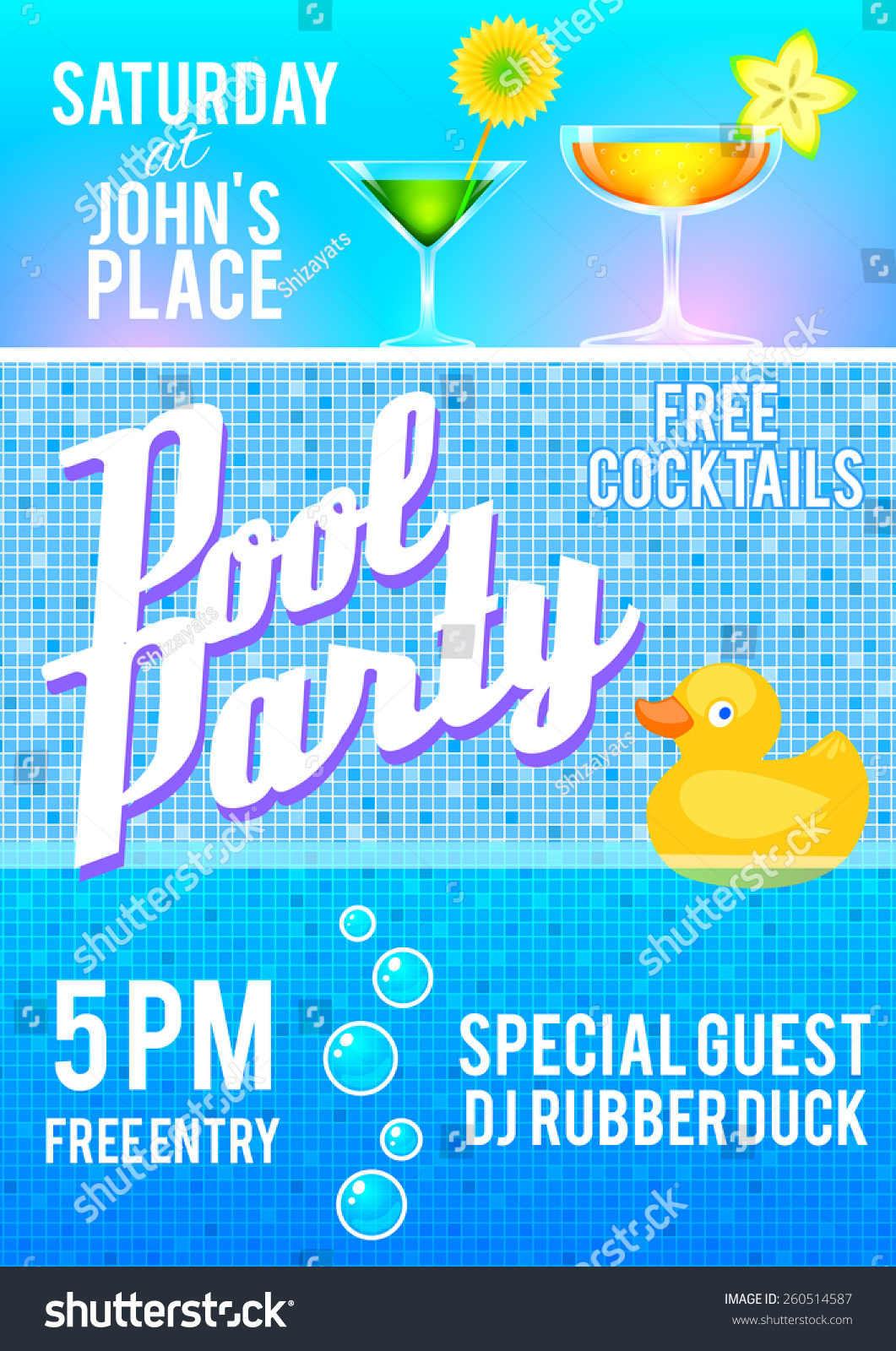 Pool Party Flyer Template Featuring Cocktails, Pool Tile, Bubbles And A  Rubber Duck.