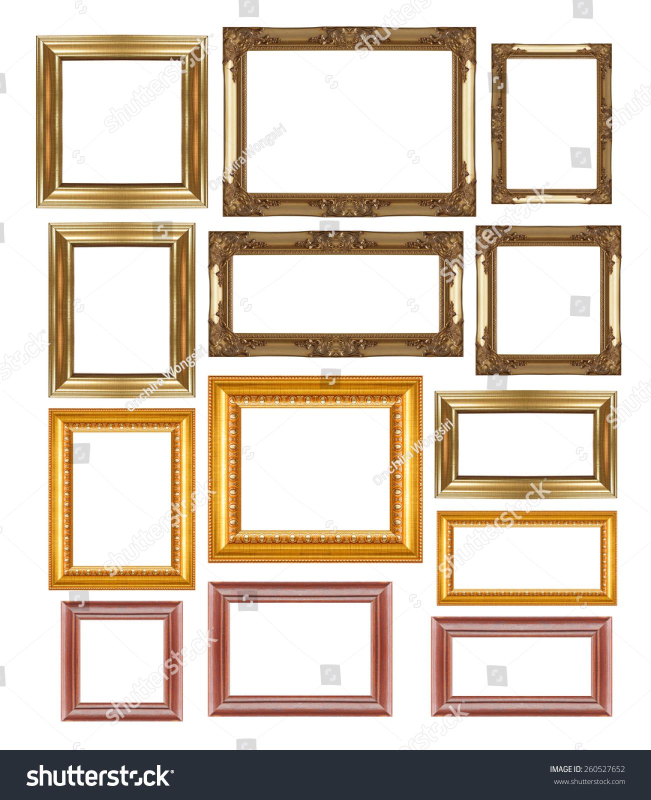 Group Set Golden Vintage Wood Frame Stock Photo (Royalty Free ...