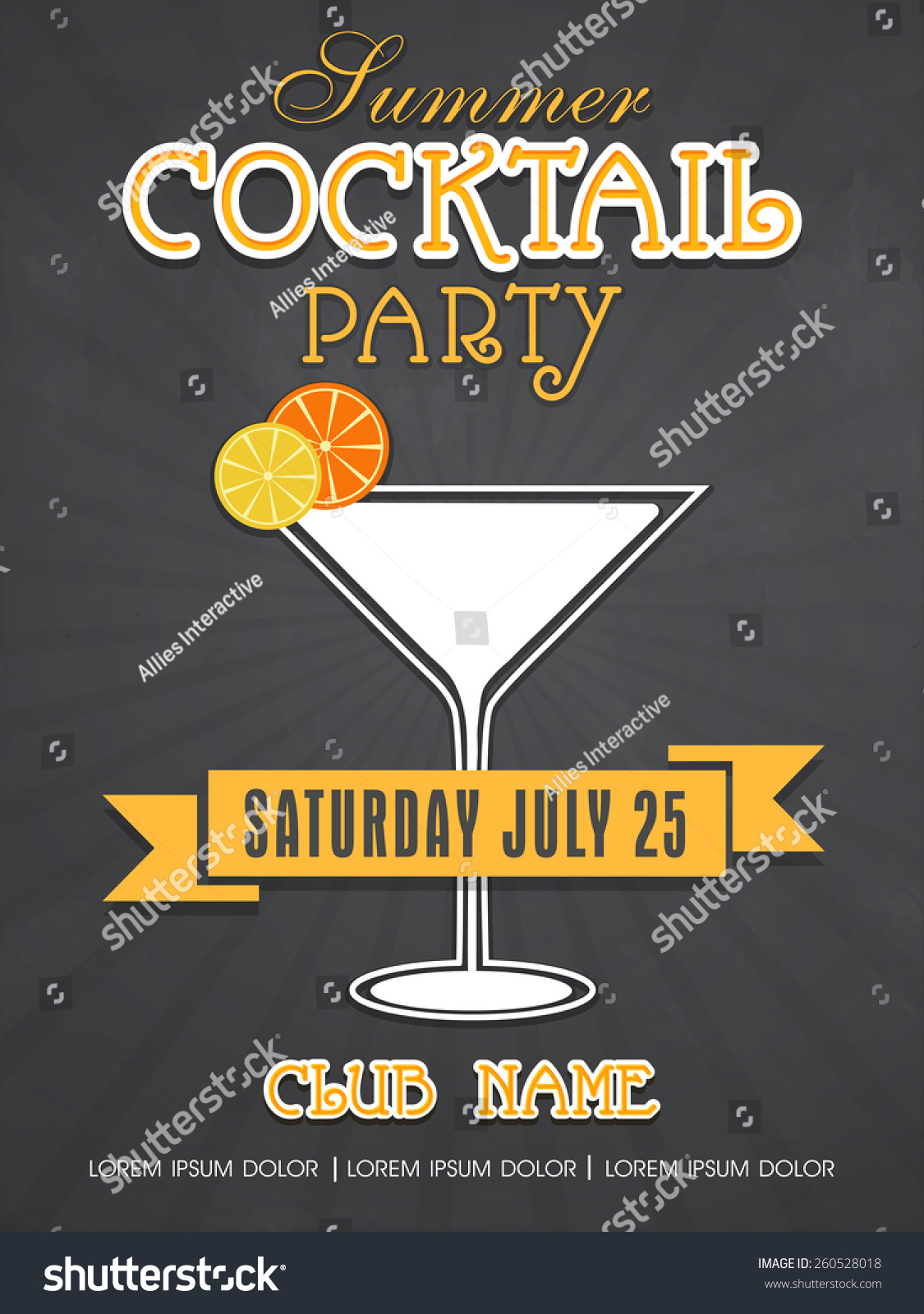 Stylish Summer Cocktail Party Invitation Card Design With ...