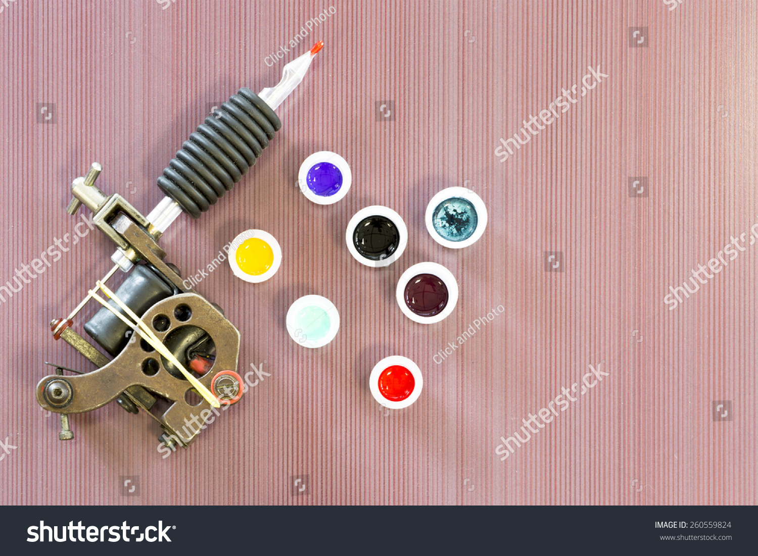 Background Tattoo Session Consists Tattoo Machine Stock Photo (Edit