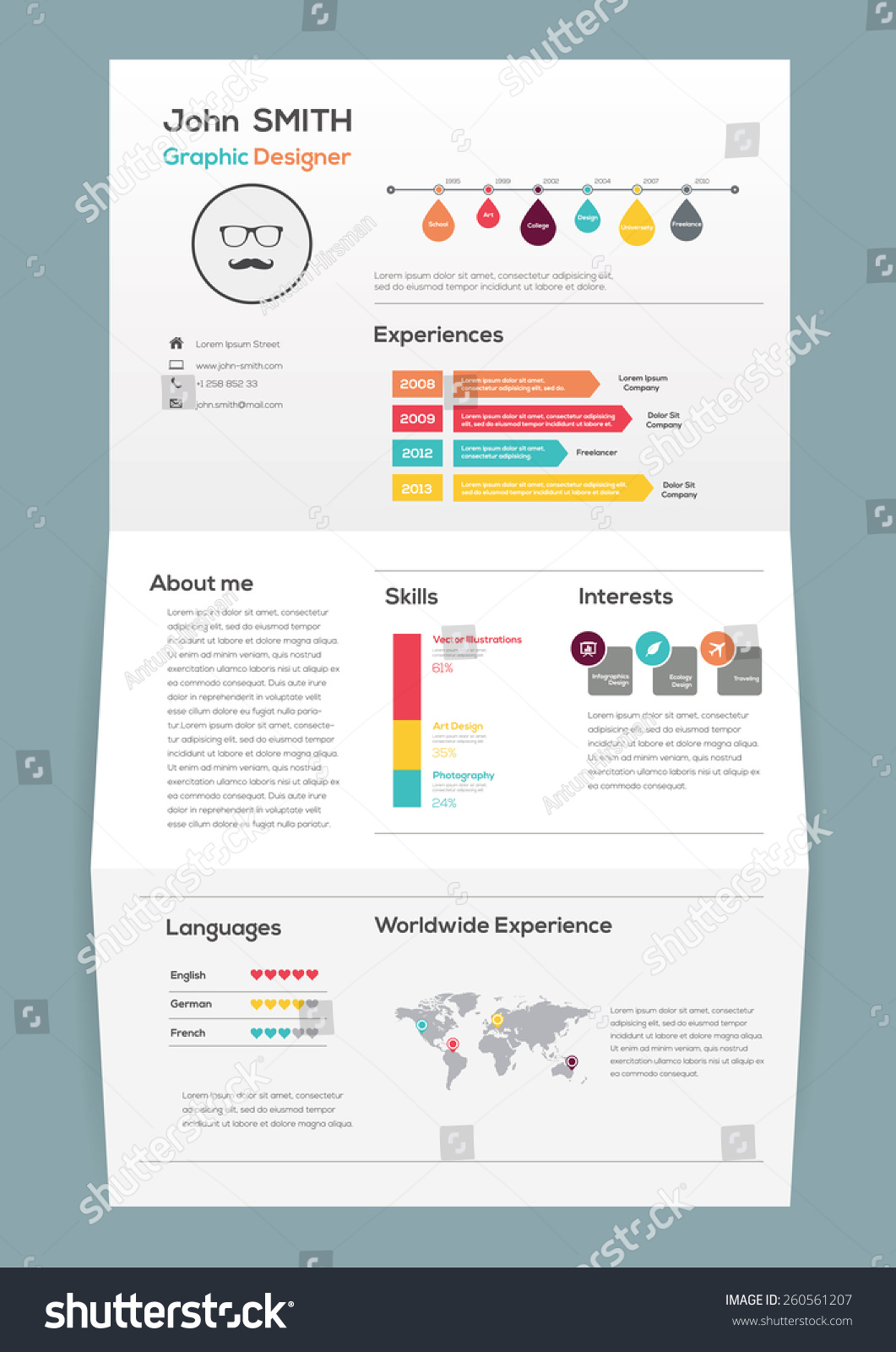 Flat Resume On Brochure With Infographics And Timeline. Vector Illustration  Timeline Resume