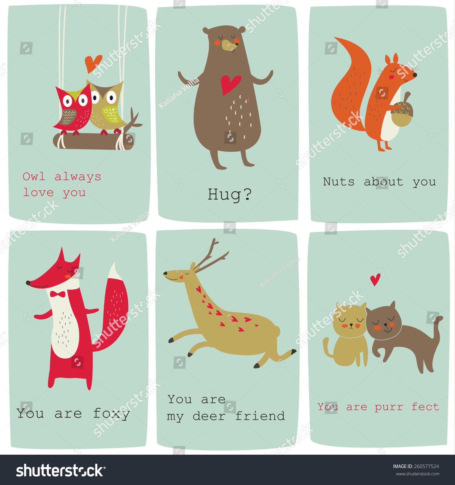 Cute Valentine Cards Funny Animals Vector Vector 260577524 – Funny Cute Valentines Cards