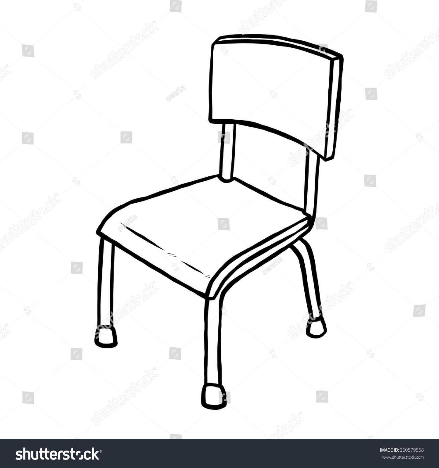 Classroom Decoration Black And White ~ Classroom chair cartoon vector illustration black stock