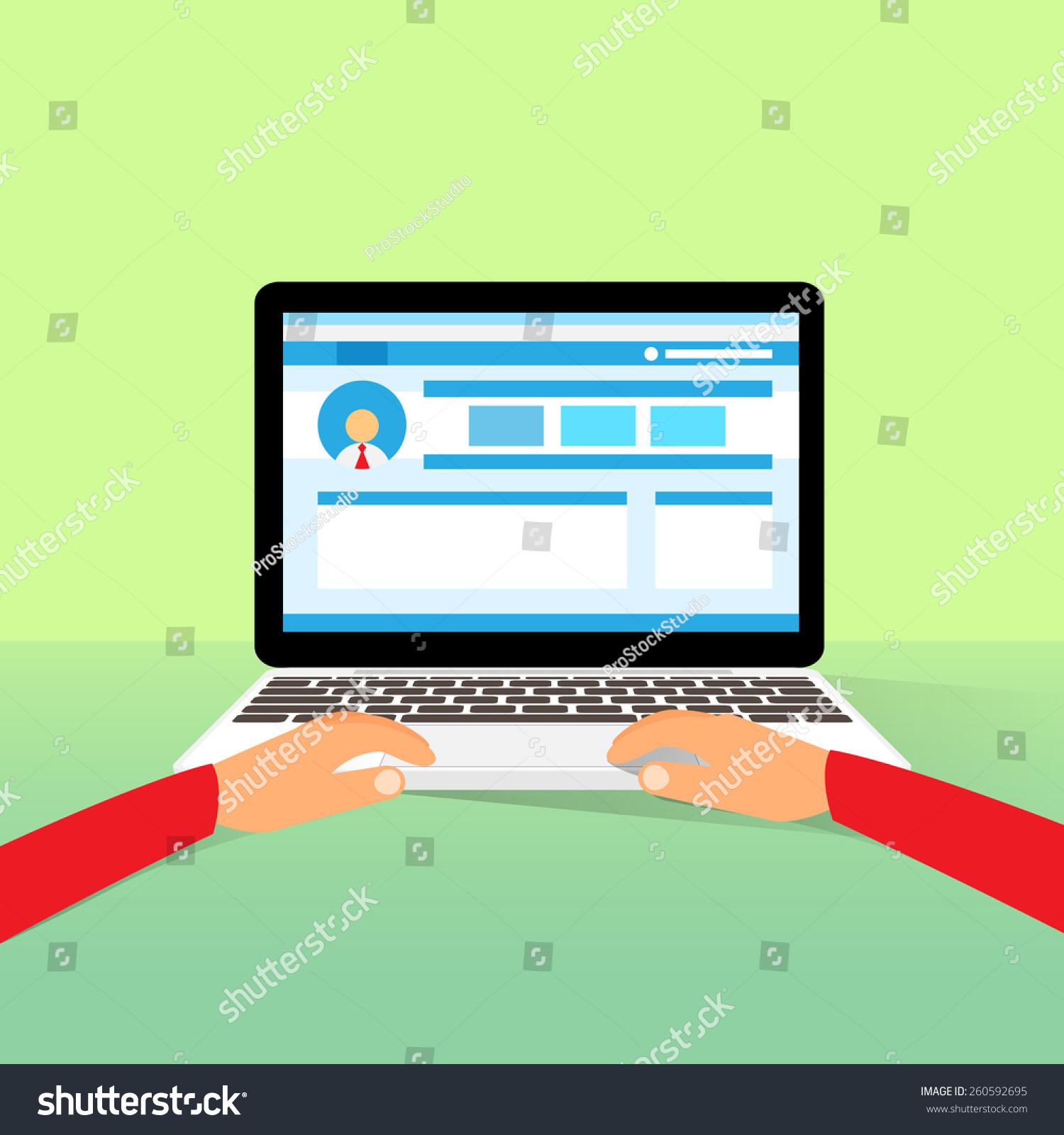 Laptop Hands Type Working Using Computer Stock Vector ... Laptop Vector Illustration