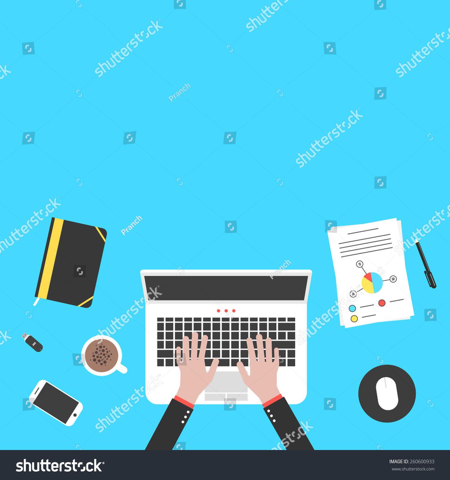 designer office desk isolated objects top view. hands and office objects on blue desk top concept of teamwork audit coworking designer isolated view t