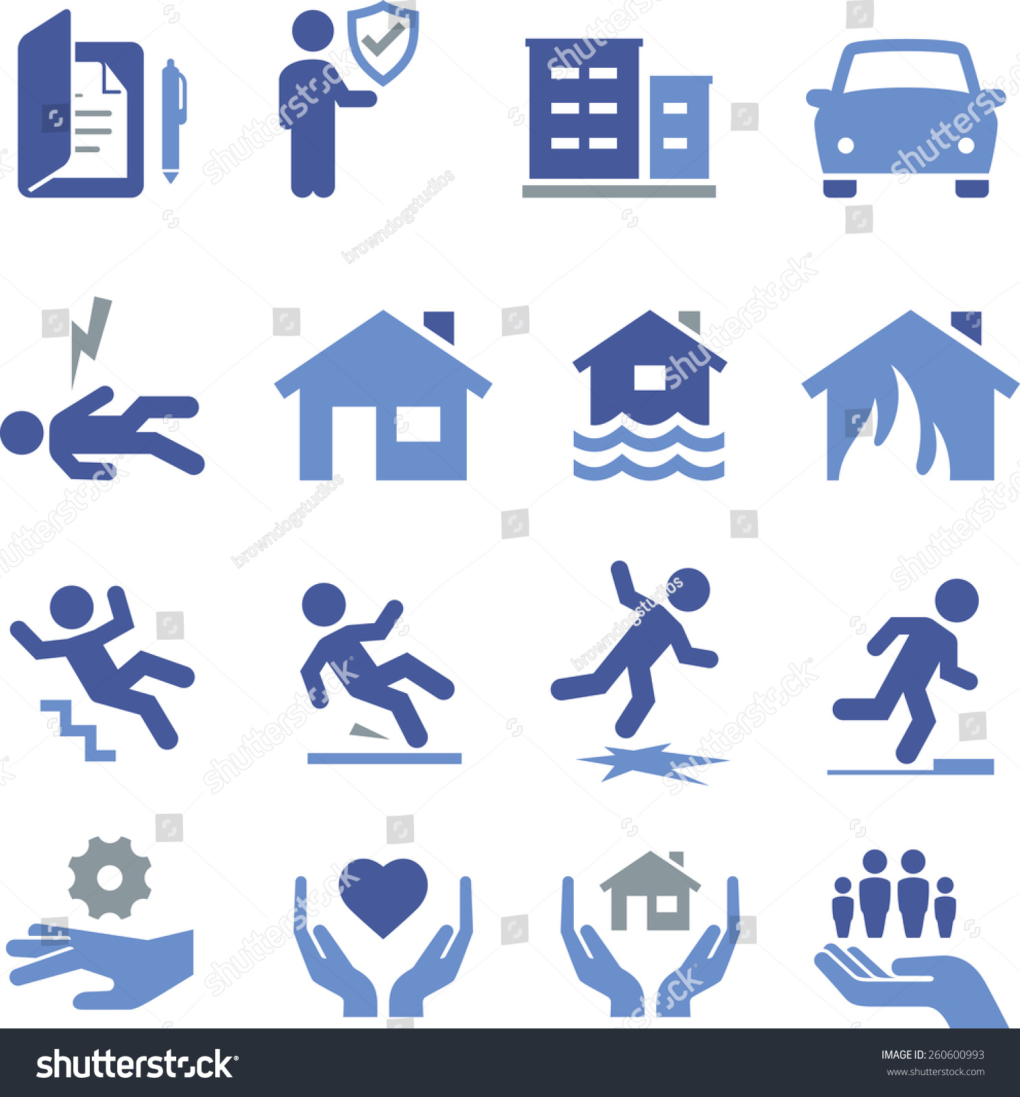 Insurance Safety Icon Set Stock Vector 260600993 - Shutterstock