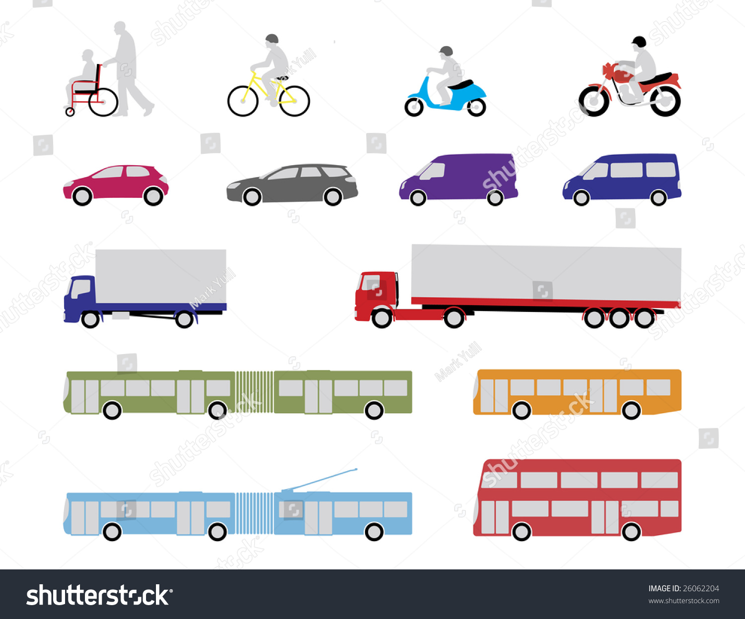 Illustrated Set Pedestrian Road Public Transport Stock