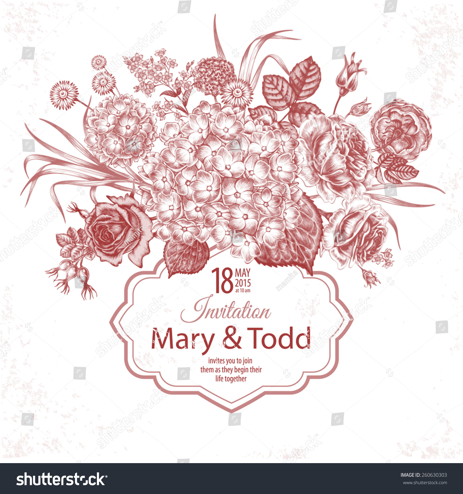 Floral Card Roses Butterfly Wedding Invitation Stock Vector (Royalty ...