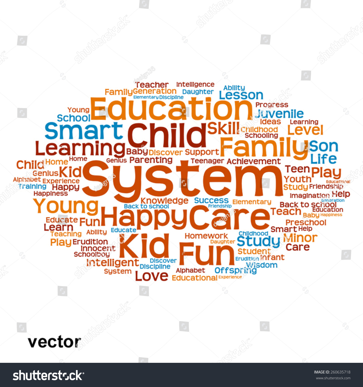 Vector Concept Conceptual Education Abstract Word Stock Vector