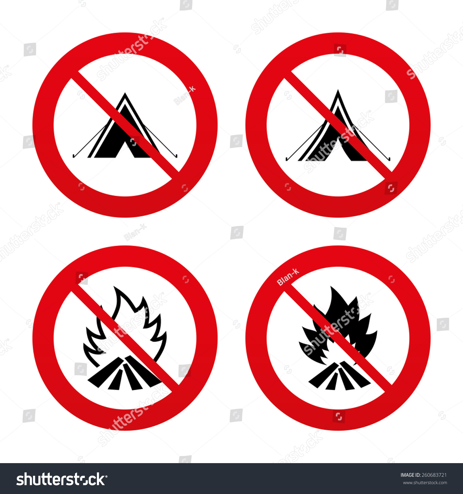 No Ban Stop Signs Tourist Camping Stock Vector Royalty Free