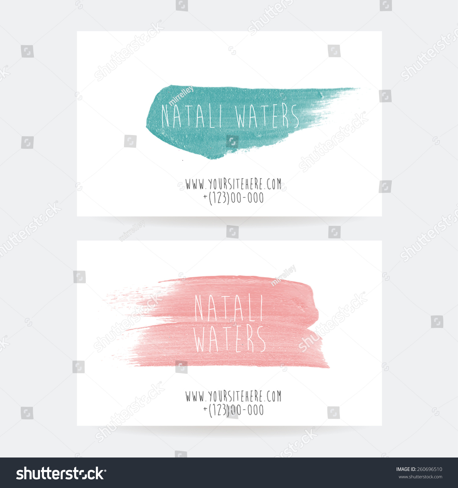 Set Two Creative Business Card Templates Stock Vector