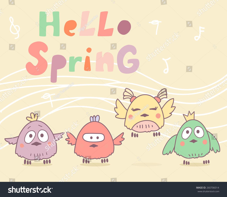 Vector Cartoon Funny Birds Say Hello Stock Vector (Royalty Free