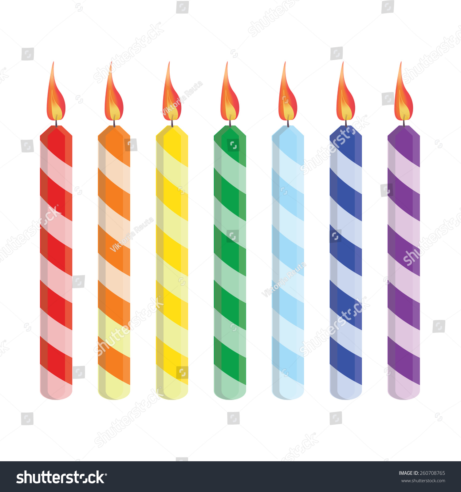 Purple Birthday Candle Clipart Seven Striped Birthday...