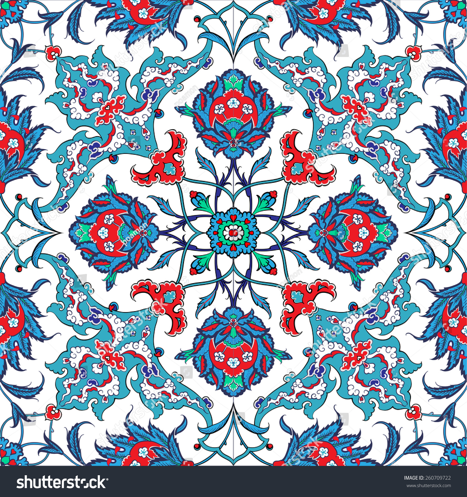Traditional Turkish Ottoman Red Flower Home Decor Mosaic: Turkish Ottoman Empires Era Traditional Seamless Stock