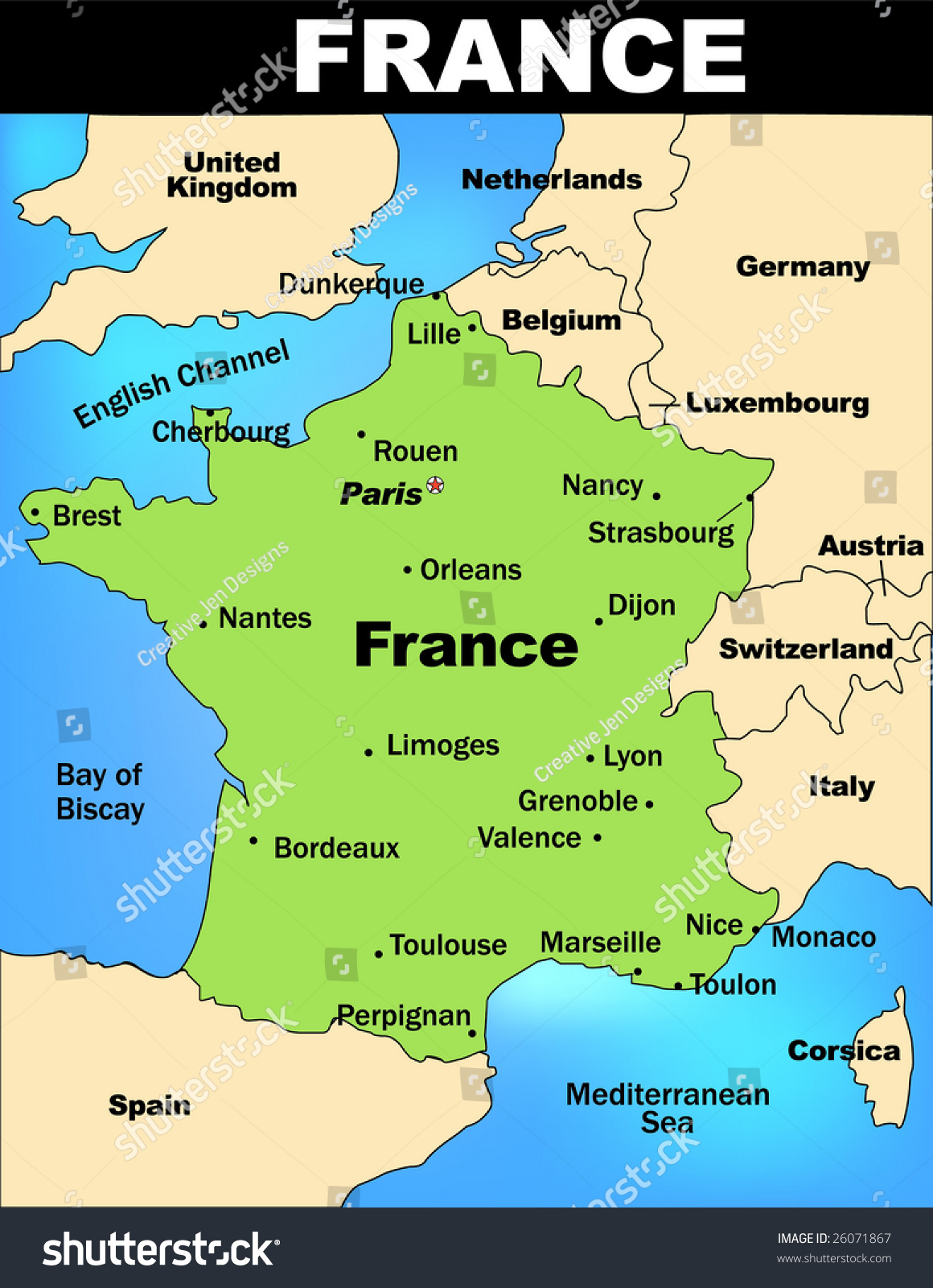 Detailed Illustrated Map France Stock Vector 2018 26071867