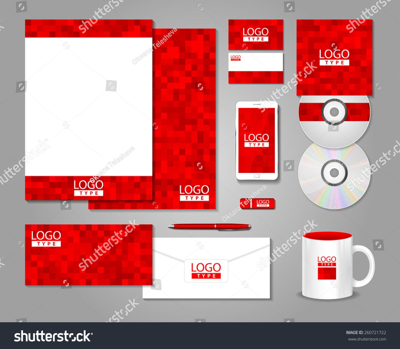 Red Corporate Identity Template Design Stock Vector 260721722 ...