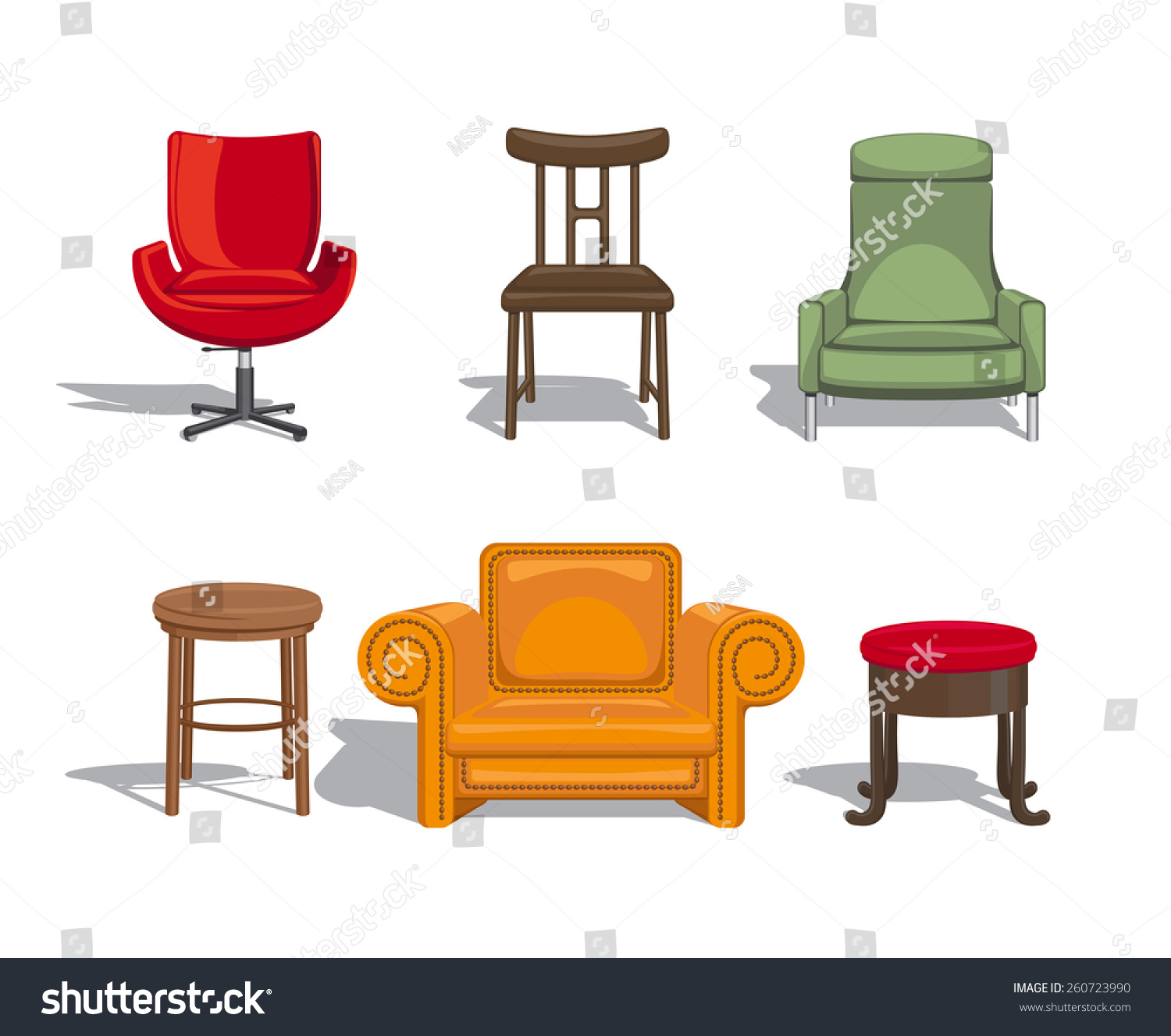 Set Furniture Sitting Chairs Armchairs Stools Stock Vector
