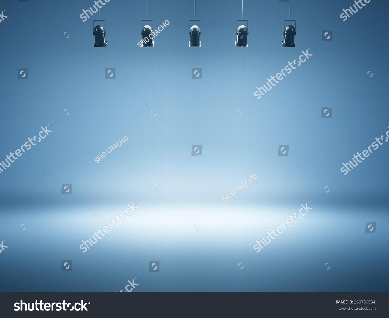 Blue Spotlight Background Studio Lamps Stock Photo ...