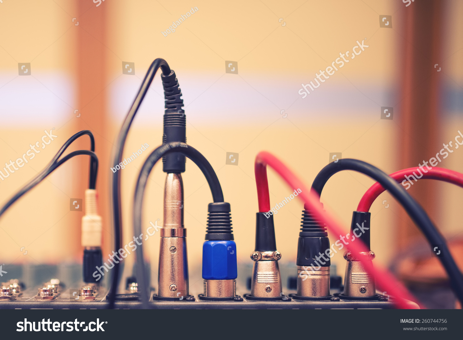 audio jack wires connected audio mixer stock photo 260744756 audio jack and wires connected to audio mixer music dj equipment at concert festival