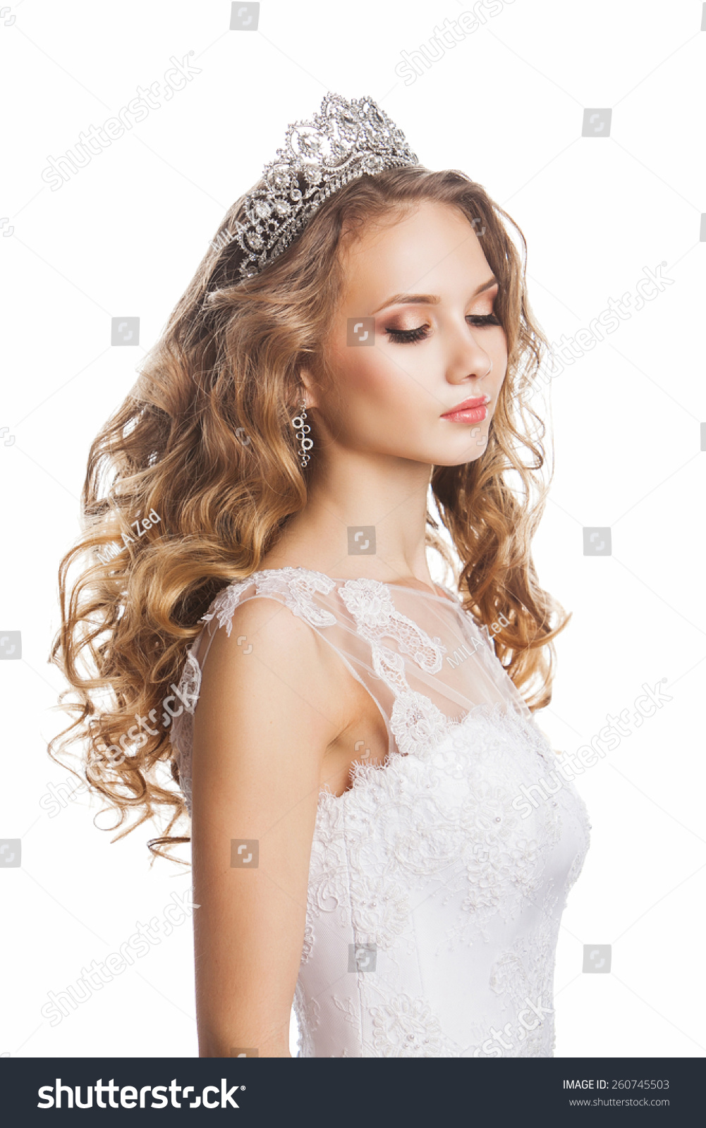 Beautiful Young Bride Wedding Hairstyle Makeup Stock Photo 260745503 Shutterstock