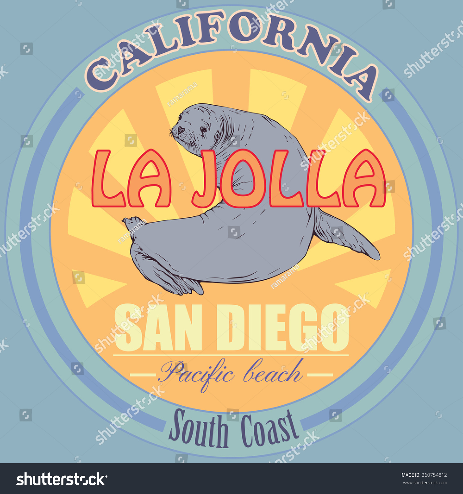 Shirt design san diego - T Shirt Design Seal Vector Graphic Illustration California San Diego La Jolla Beach