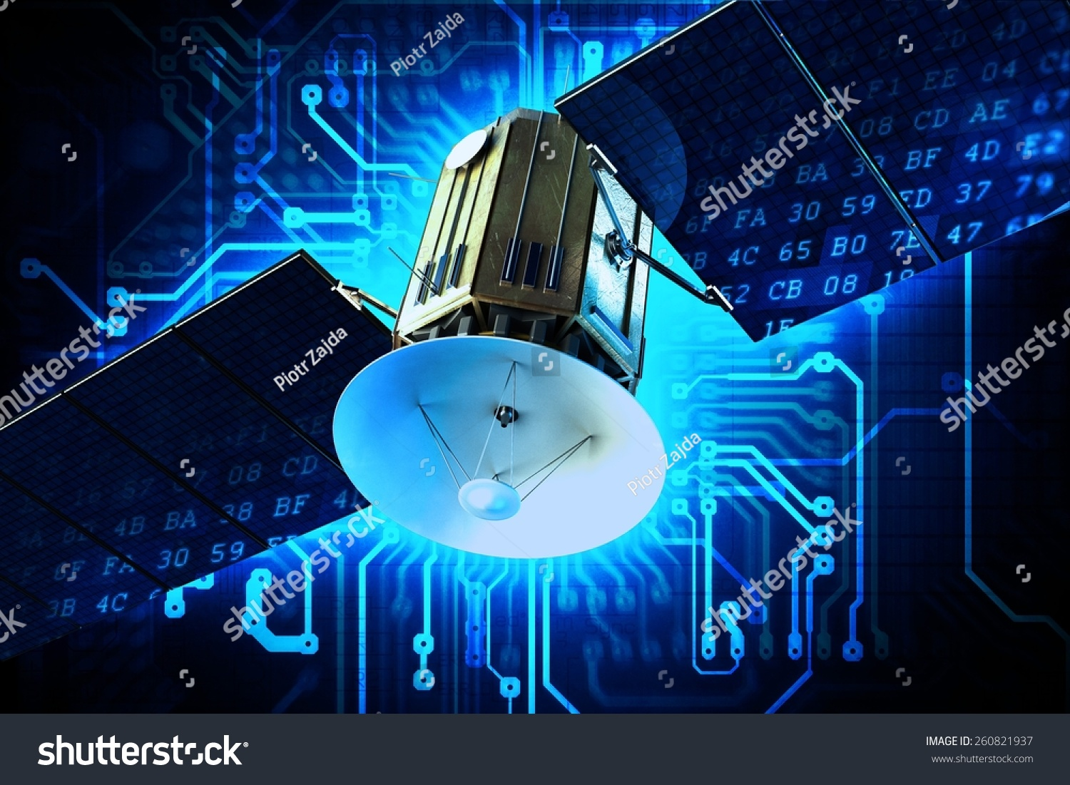 Satellite Technology Concept Illustration Communication Circuit Boards With Clock Hands Royalty Free Stock Image On Board Blue Background