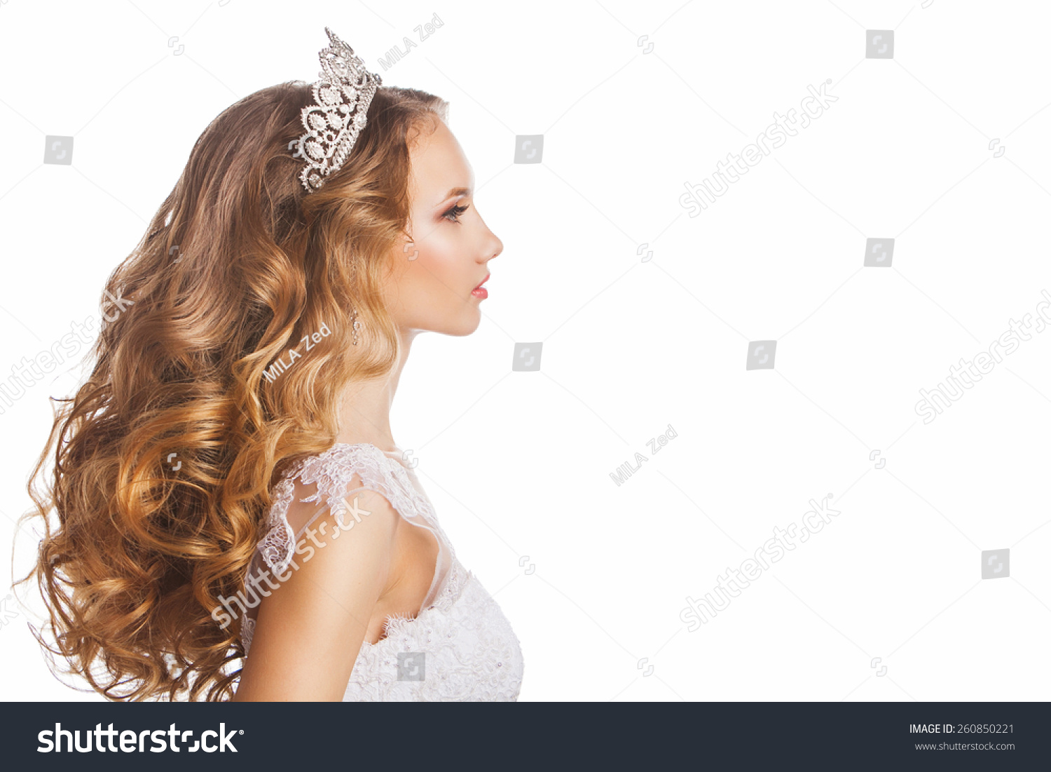 Portrait Bride Tiara Wedding Hairstyle Makeup Stock Photo Edit Now