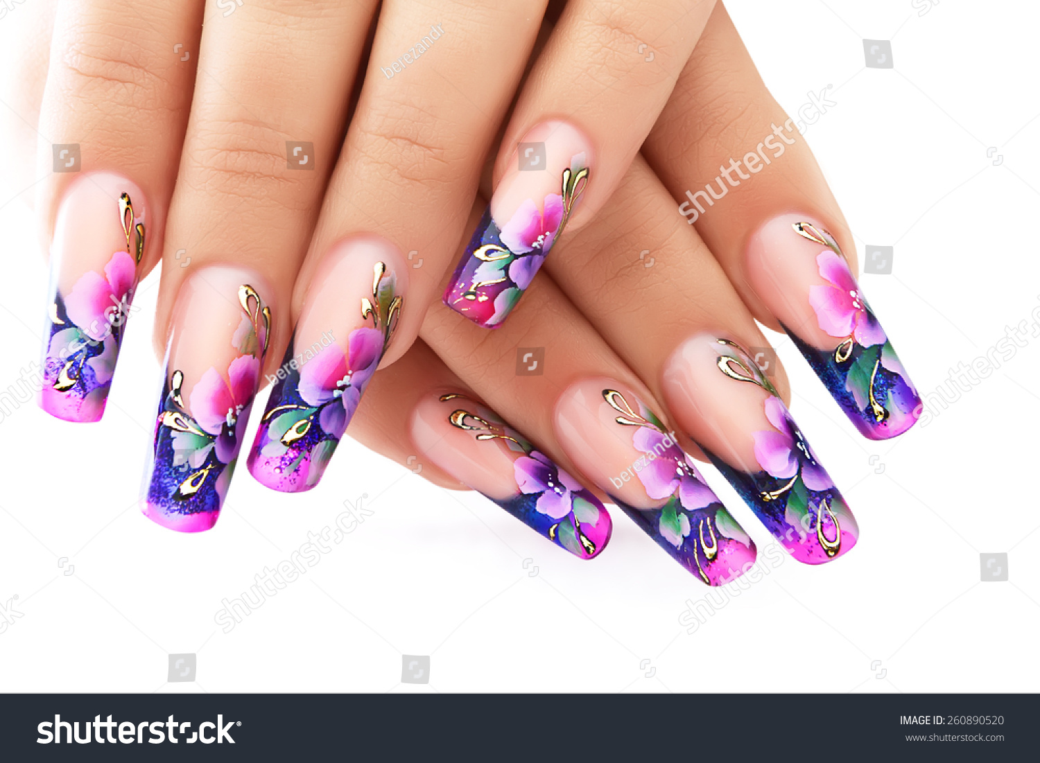 Female hand floral art design nails stock photo 260890520 female hand with floral art design nails prinsesfo Image collections
