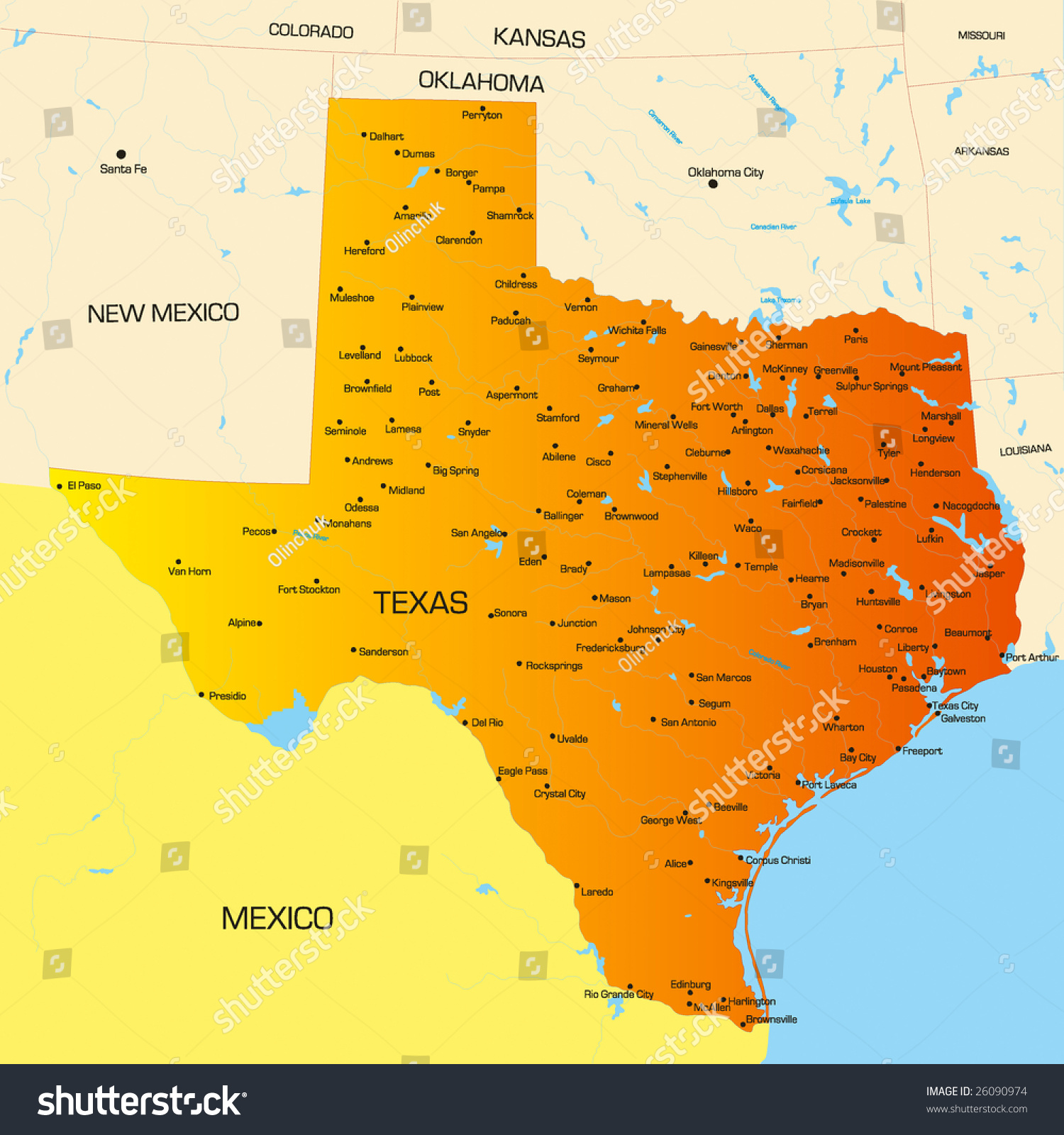 Vector Color Map Of Texas State Usa