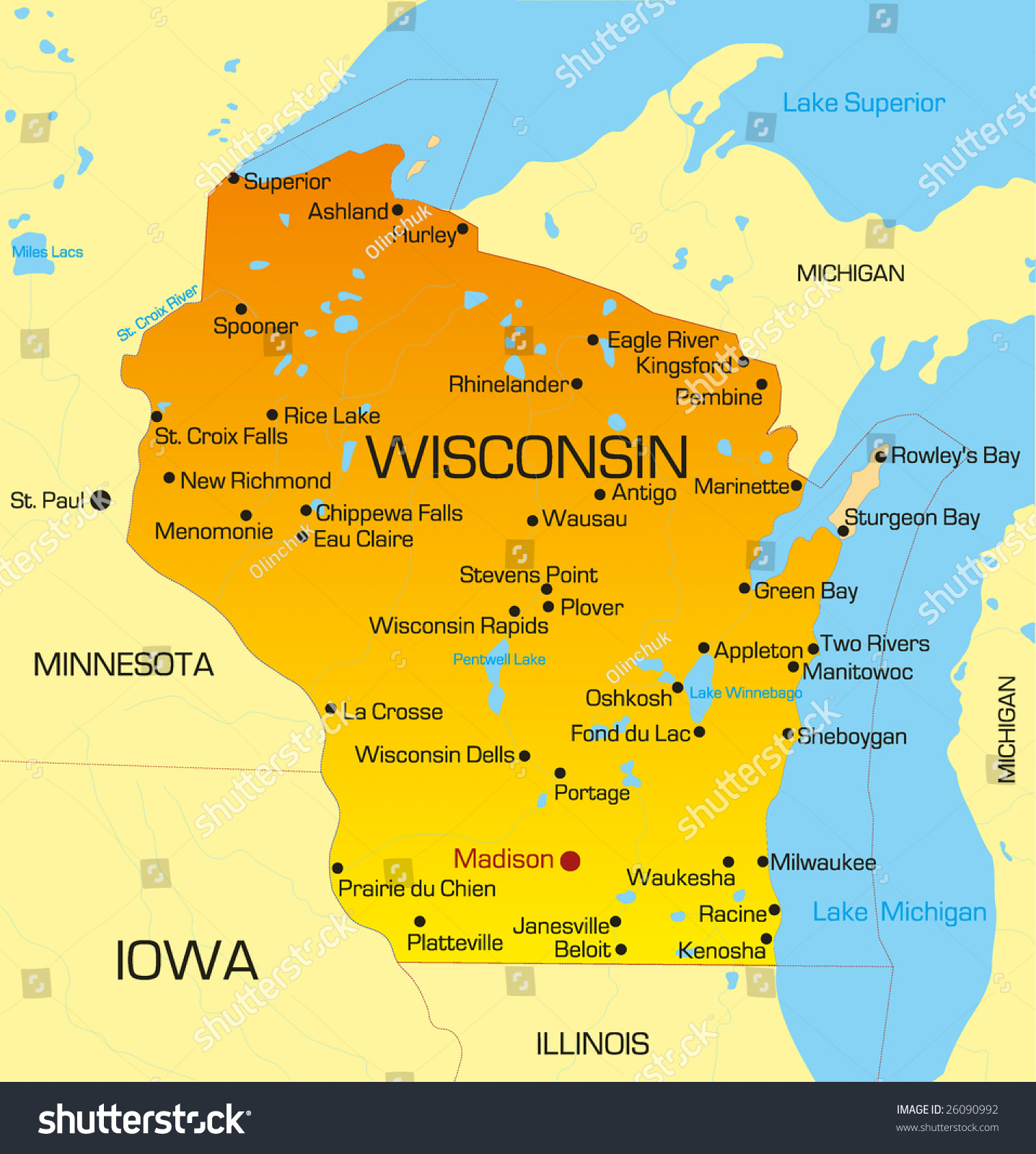 Vector color map wisconsin state usa stock vector 26090992 for States with free land