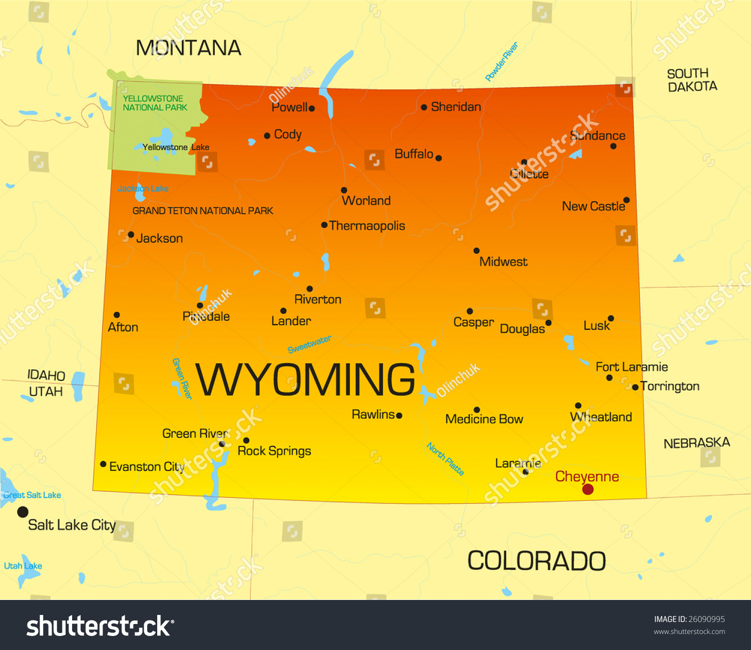 Vector Color Map Wyoming State Usa Stock Vector - Wyomong map