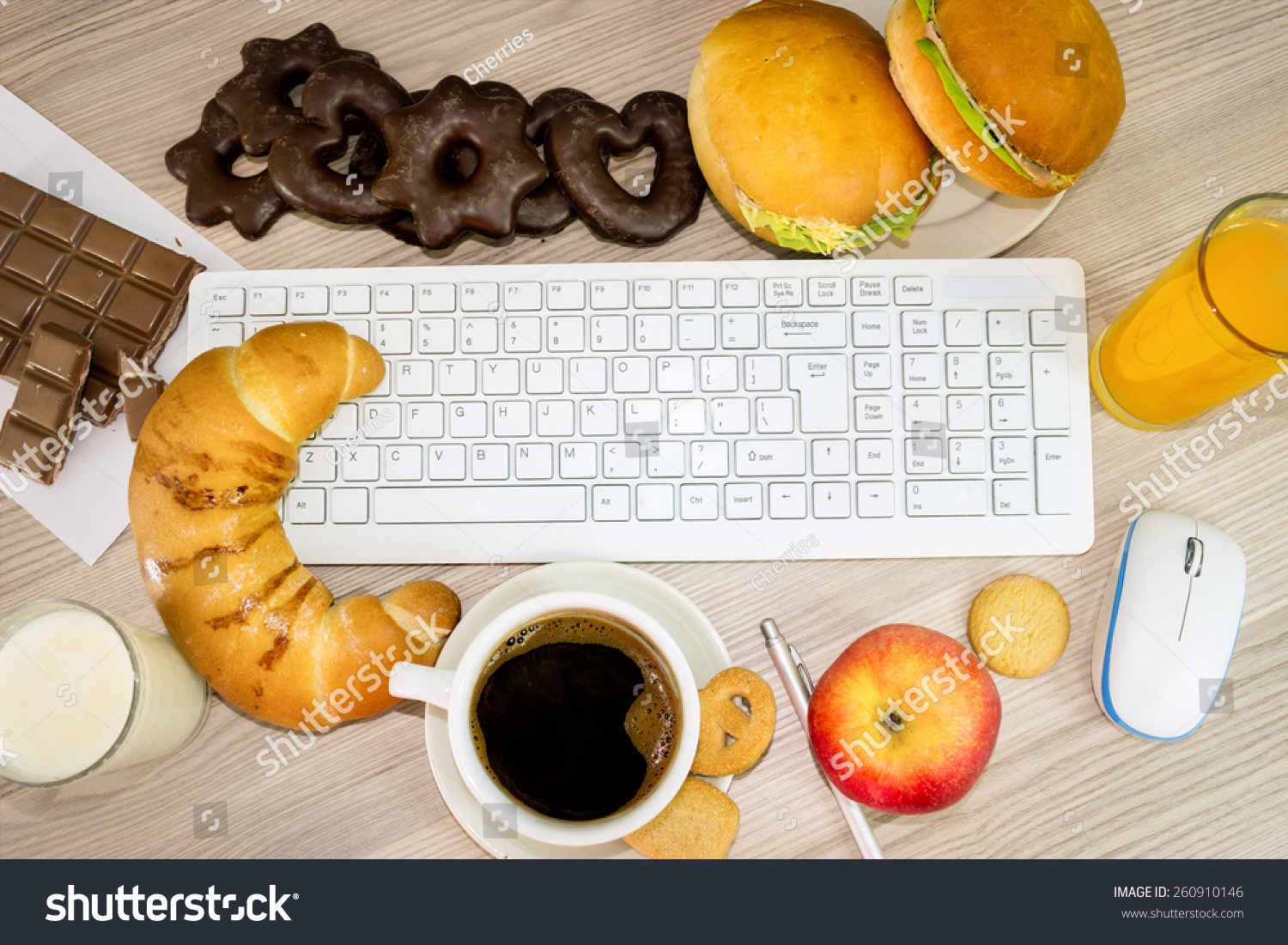 Lunchtime office keyboard covered food that stock photo 260910146 lunchtime in office keyboard covered with food that we eat during work biocorpaavc