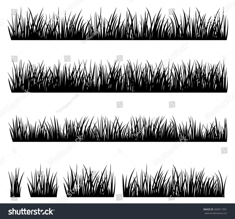 Stock Vector Illustration Set Silhouette Grass Stock Vector ...