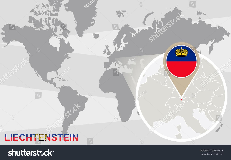 World Map Magnified Liechtenstein Liechtenstein Flag Stock Vector
