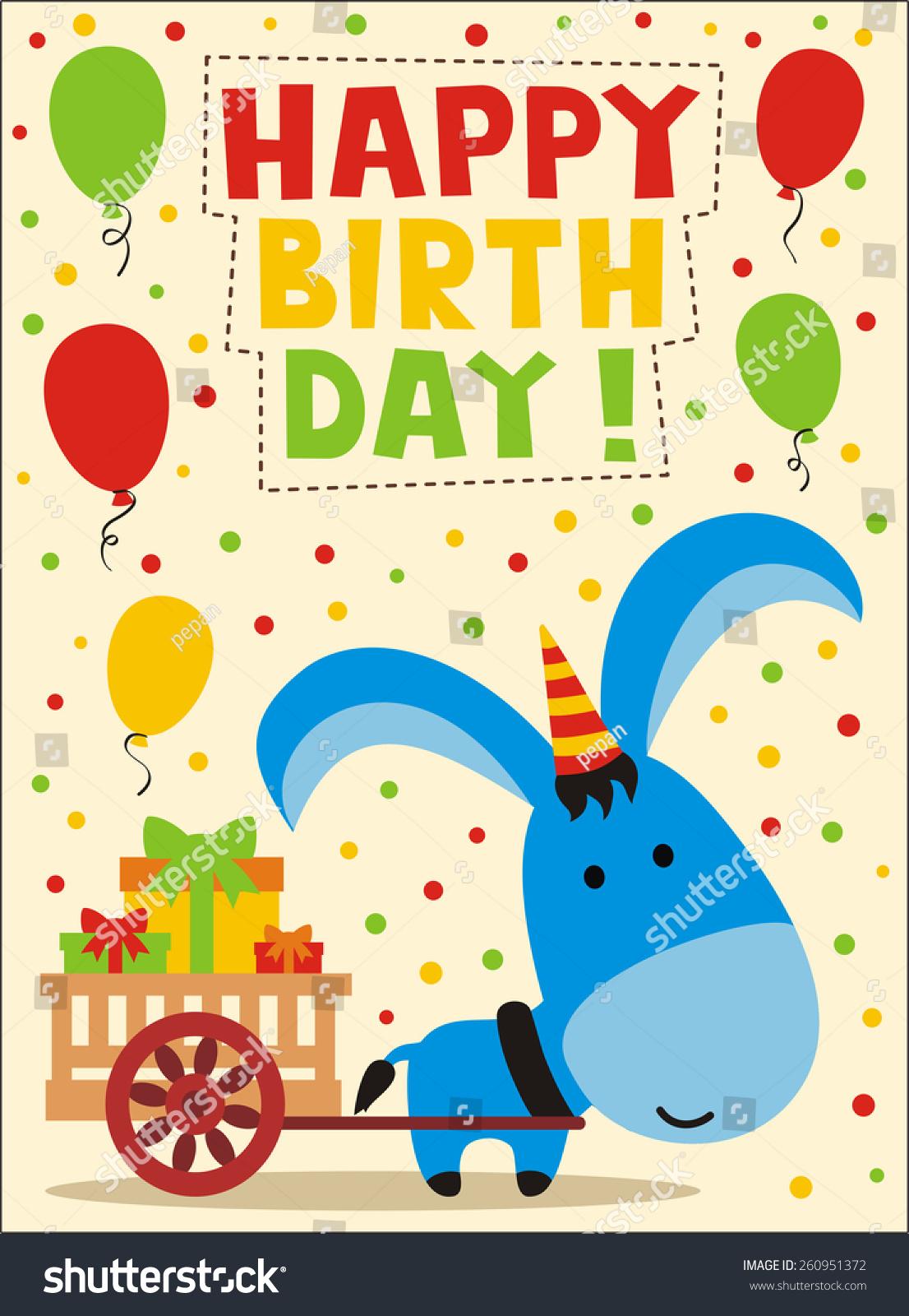 Happy Birthday Cute Little Donkey Birthday Vector 260951372 – Donkey Birthday Card