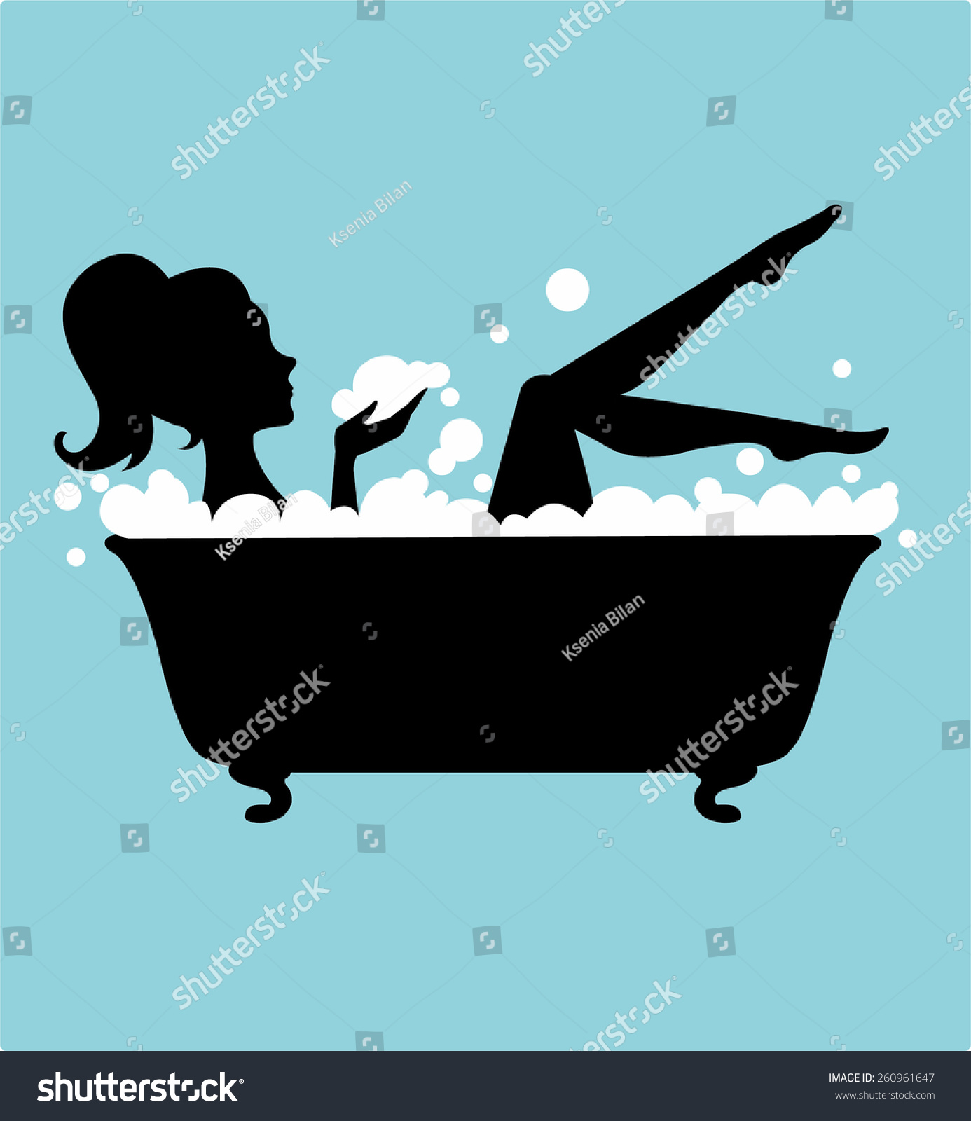 Woman In Bathtub Silhouette Stock Vector Illustration