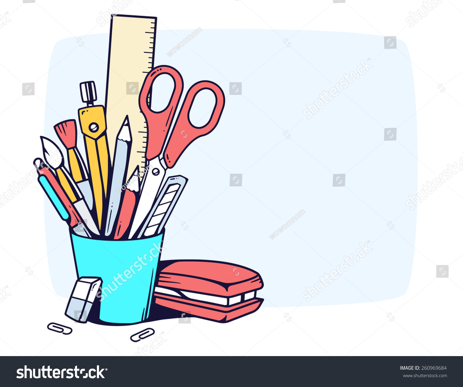 Vector Linear Illustration Of Blue Holder With Stationery Set In Frame On Gray Background Color