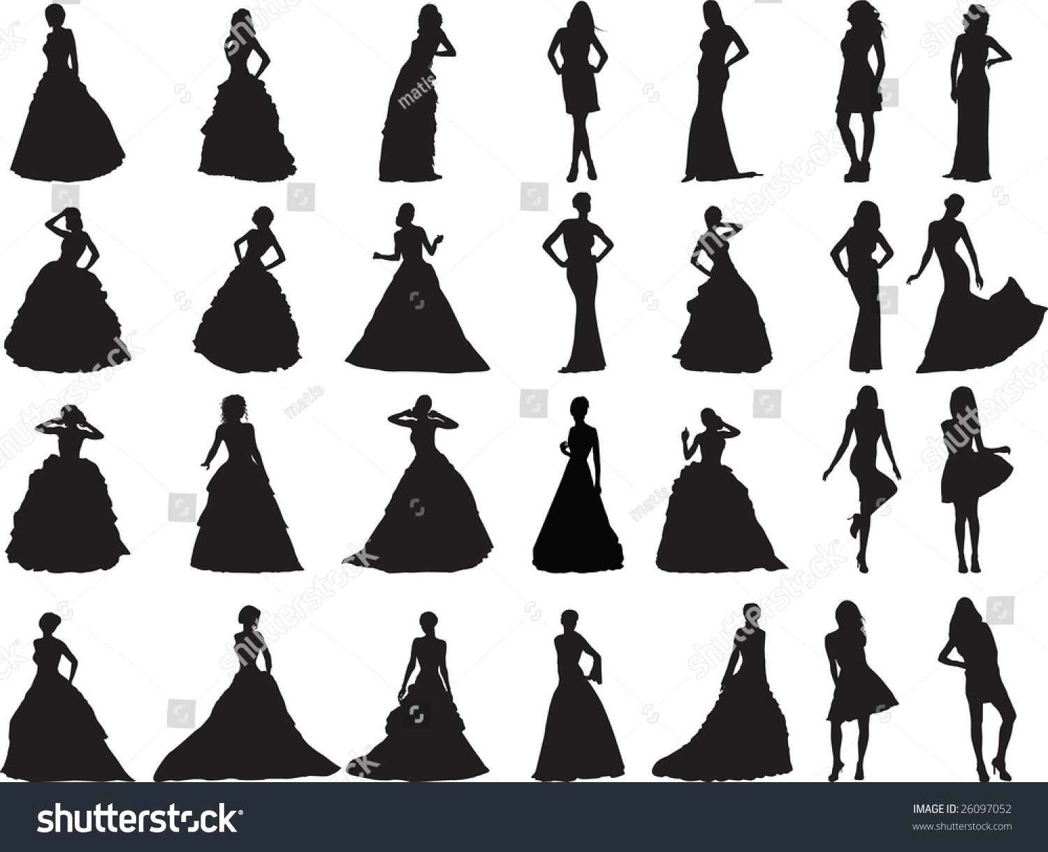 Silhouettes Girls Weddings Ball Clothes Stock Vector (Royalty Free ...
